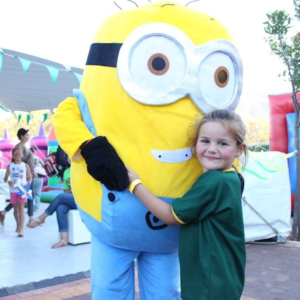 Minion Mascot for Hire Bazinga Parties Cape Town