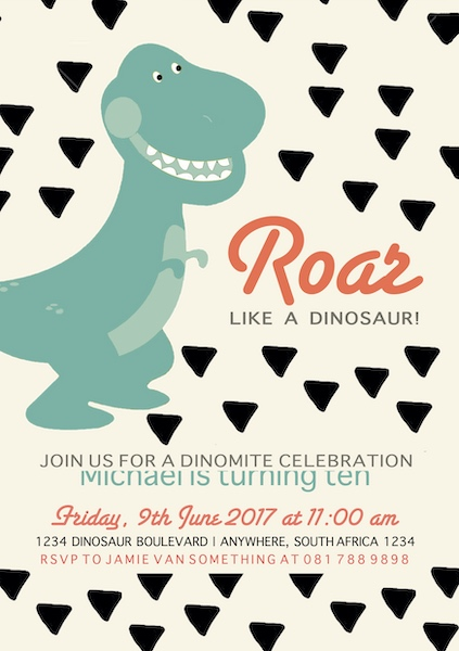 Dino Party Invite Digital Download Cape Town Bazinga Parties