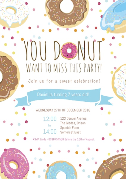 Donut Party Invite Digital Download Cape Town Bazinga Parties