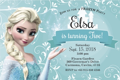 Frozen Elsa Digital Party Invite Cape Town Bazinga Parties