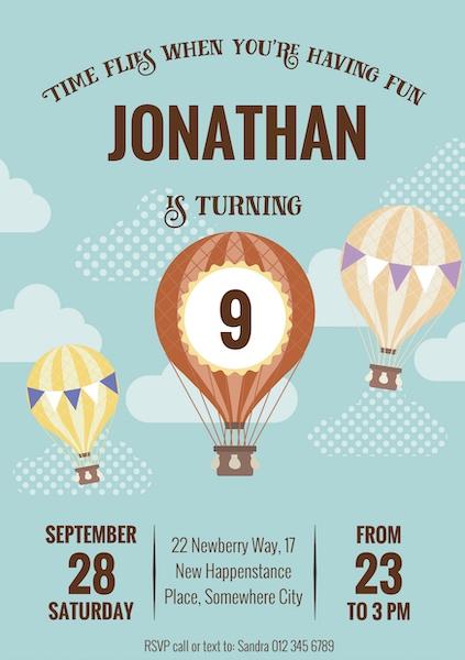 Hot Air Balloon Invite Digital Download Cape Town Bazinga Parties