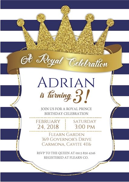Prince Party Invite Cape Town Digital Download Bazinga Parties