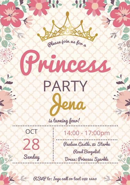 Princess Party Invite Digital Download Cape Town Bazinga Parties