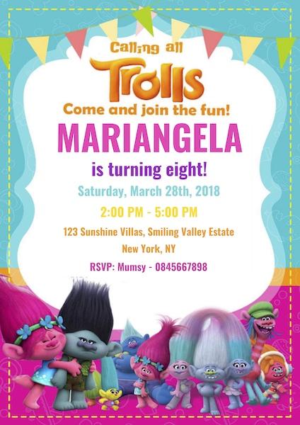Trolls Party Invite Digital Download Cape Town Bazinga Parties
