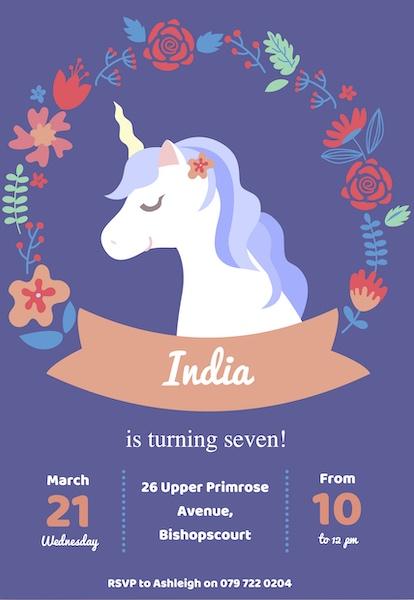 Unicorn Party Invite Digital Download Cape Town Bazinga